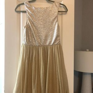 Champagne, sparkly dress